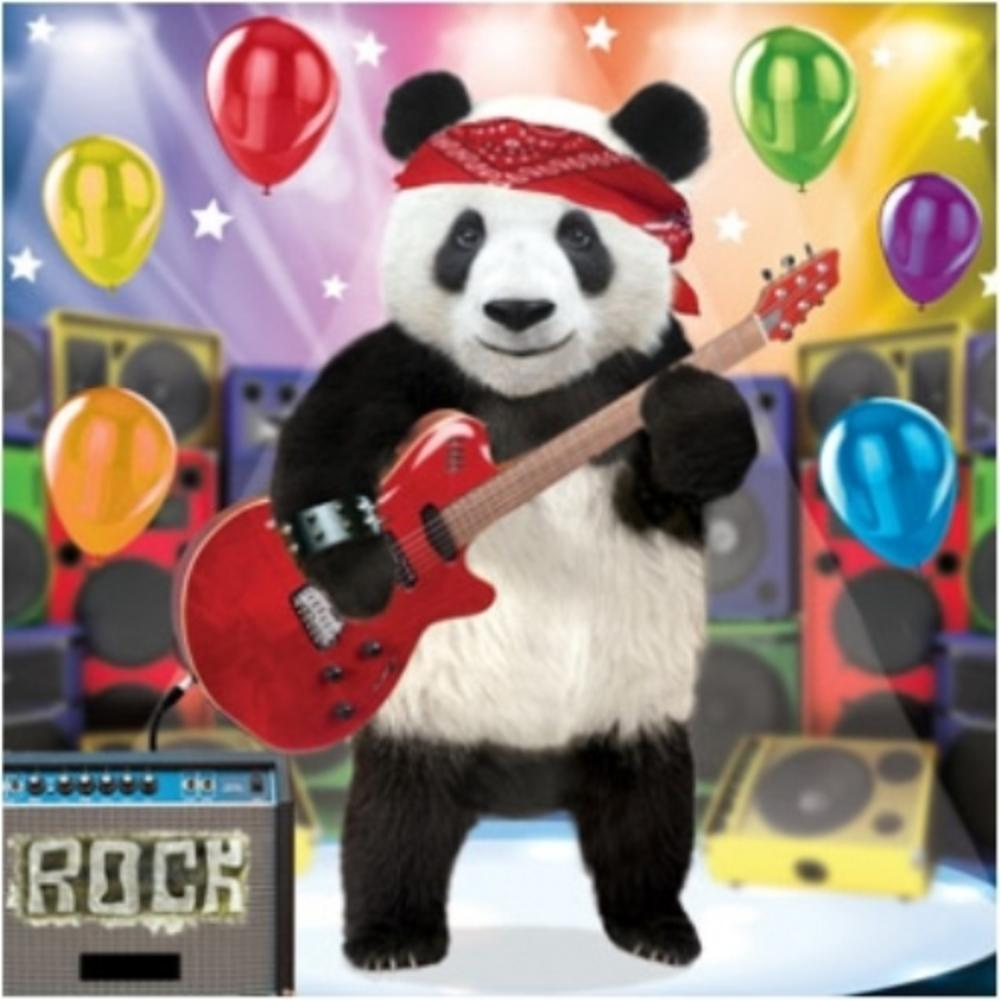 3D Holographic Rock Guitar Panda Birthday Card