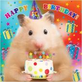 3D Holographic Hamster Happy Birthday Card