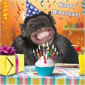 3D Holographic Chimp Happy Birthday Card