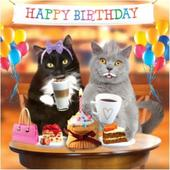 3D Holographic Cats Coffee & Cake Birthday Card