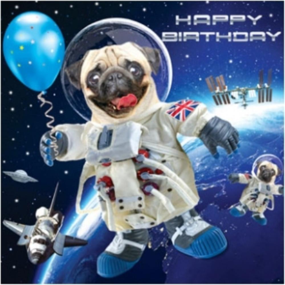 3D Holographic Pug In Space Birthday Card