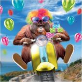 3D Holographic Orangutan Biker Birthday Card