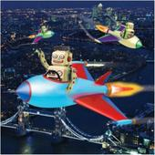 3D Holographic Flying Robots Birthday Card