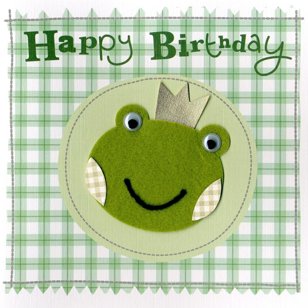 Green Frog Embellished Felt Art Birthday Card