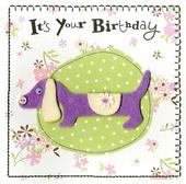 Sausage Dog Embellished Felt Art Birthday Card
