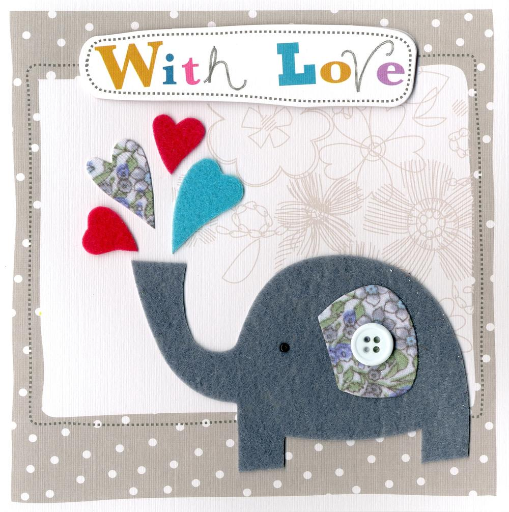 Elephant Embellished Felt Art With Love Card