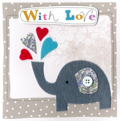 Elephant Embellished Felt Art With Love Card