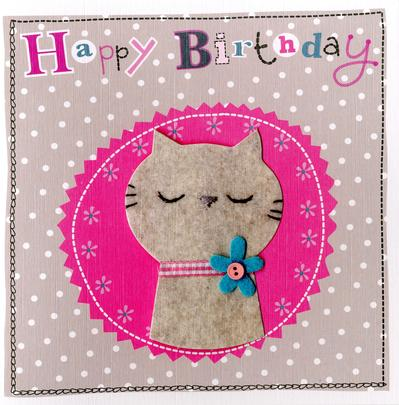 Grey Cat Embellished Felt Art Birthday Card