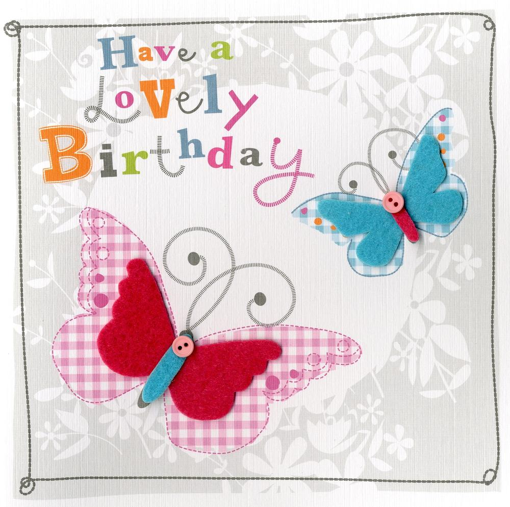 Butterflies Embellished Felt Art Birthday Card