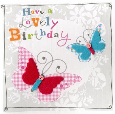 Butterflies Embellished Felt Art Birthday Card