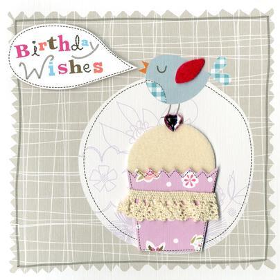 Cupcake Embellished Felt Art Birthday Card