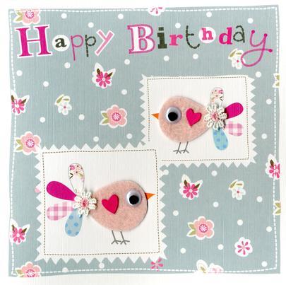Pink Birds Embellished Felt Art Birthday Card
