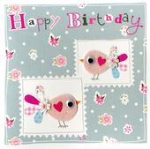 Pink Birds Embellished Felt Art Birthday Card