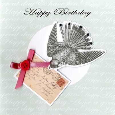 Embellished Bird Happy Birthday Card