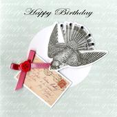 Embellished Bird Happy Birthday Card