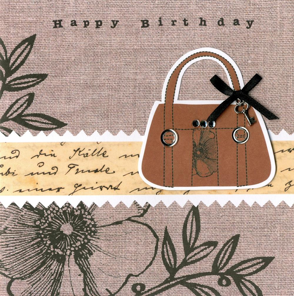 Embellished Handbag Happy Birthday Card
