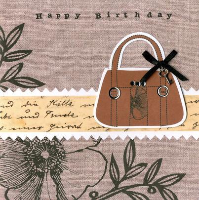 Embellished Handbag Happy Birthday Card