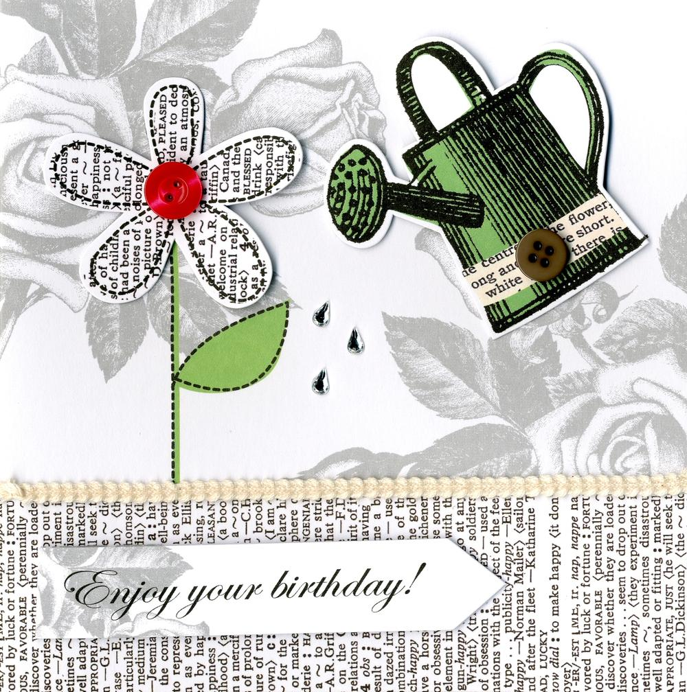 Embellished Gardening Happy Birthday Card