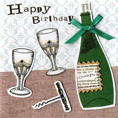 Embellished Champagne Happy Birthday Card