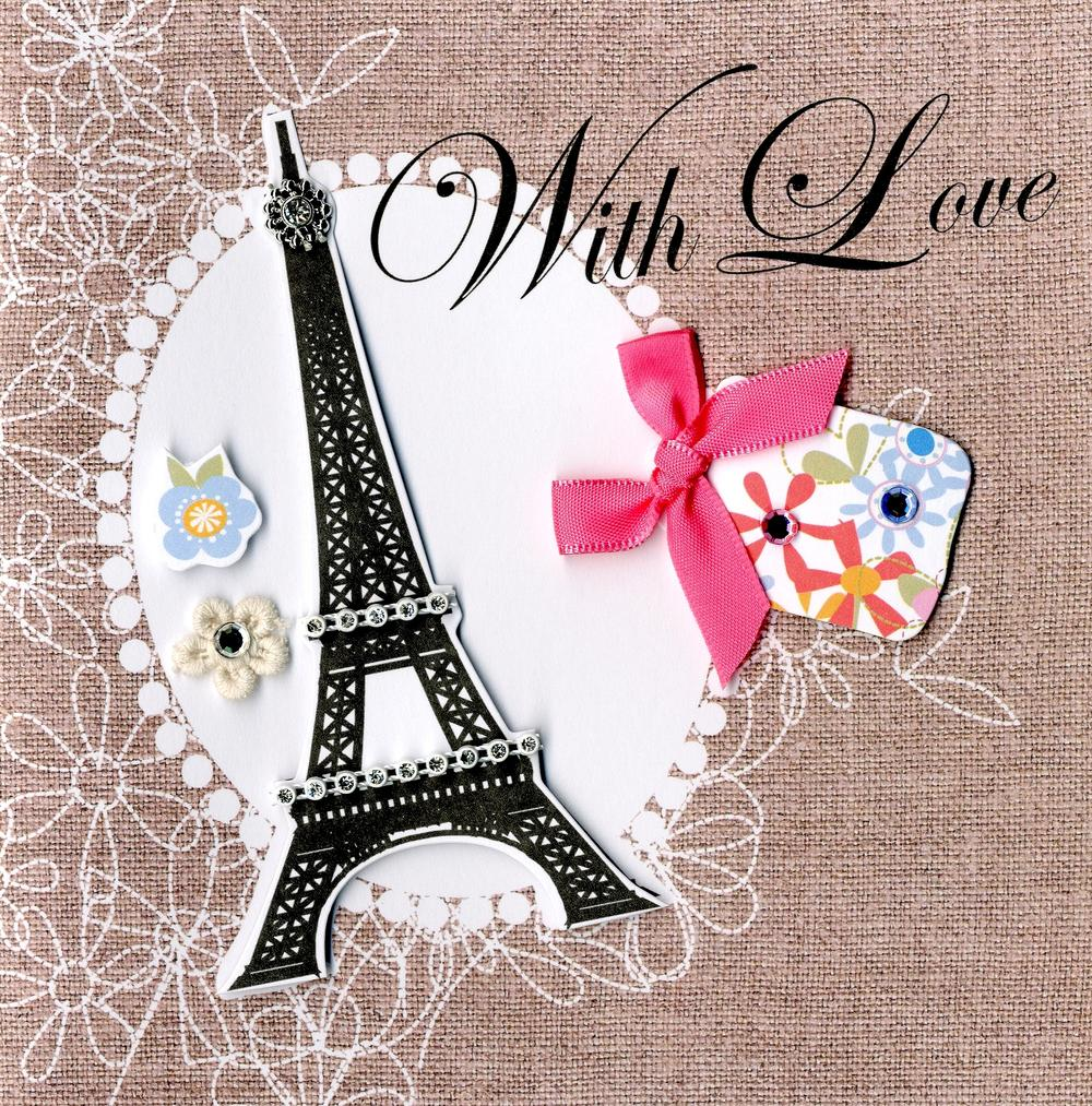 Embellished Eiffel Tower Happy Birthday Card