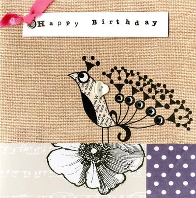 Embellished Peacock Happy Birthday Card