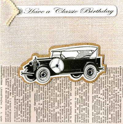 Embellished Classic Car Happy Birthday Card