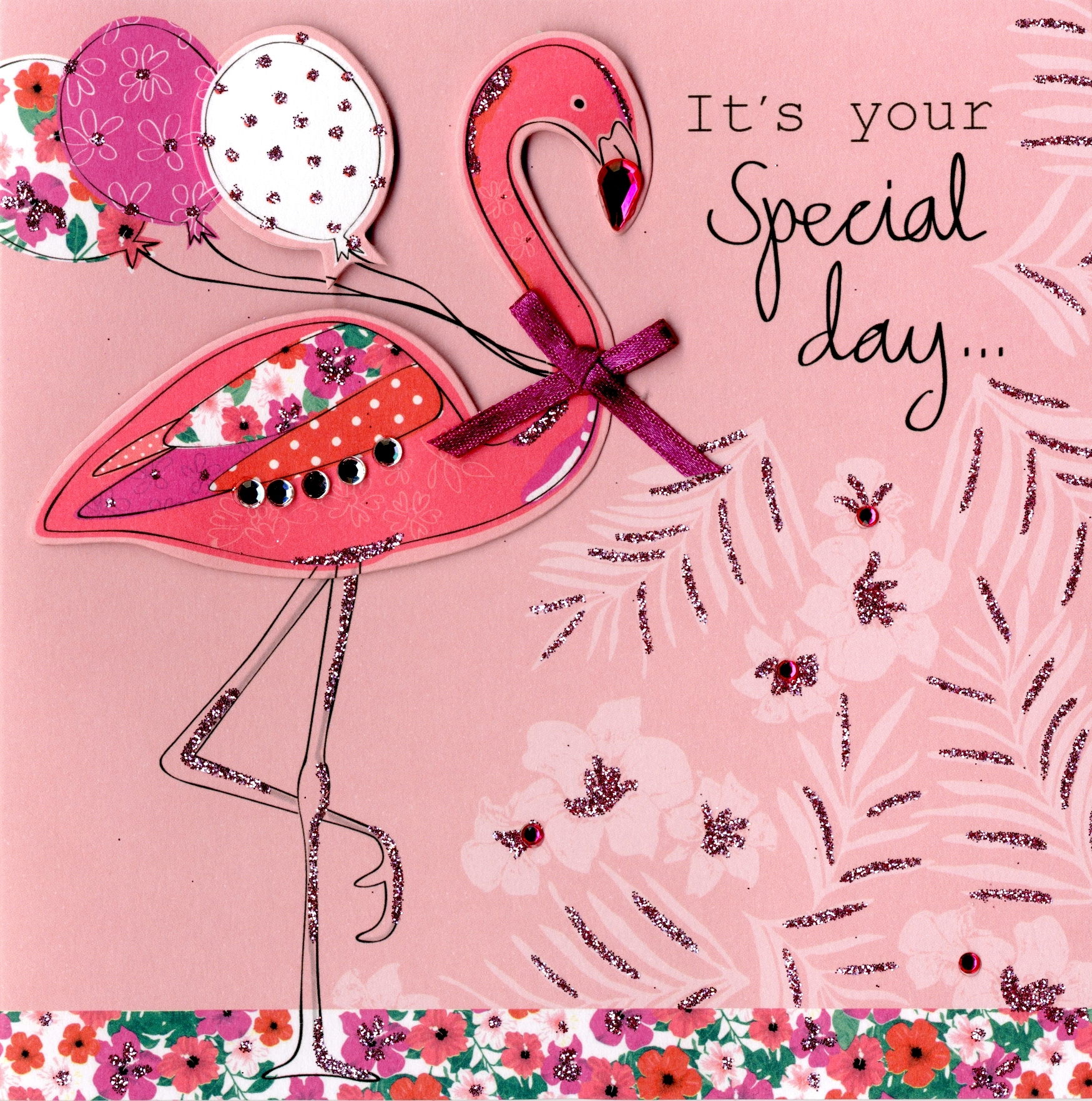 Embellished Pink Flamingo Birthday Card | Cards | Love Kates