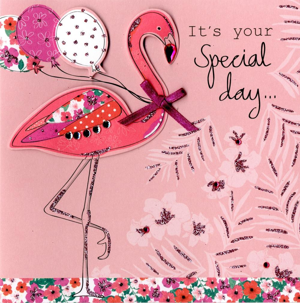 Embellished Pink Flamingo Birthday Card