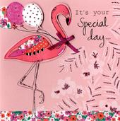 Embellished Pink Flamingo Birthday Card