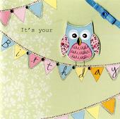 Embellished Owl It's Your Birthday Card