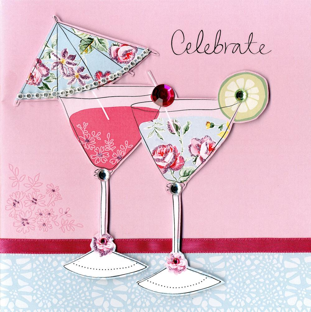 Embellished Cocktail Celebrate Birthday Card