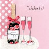 Embellished Bubbly Champagne Birthday Card