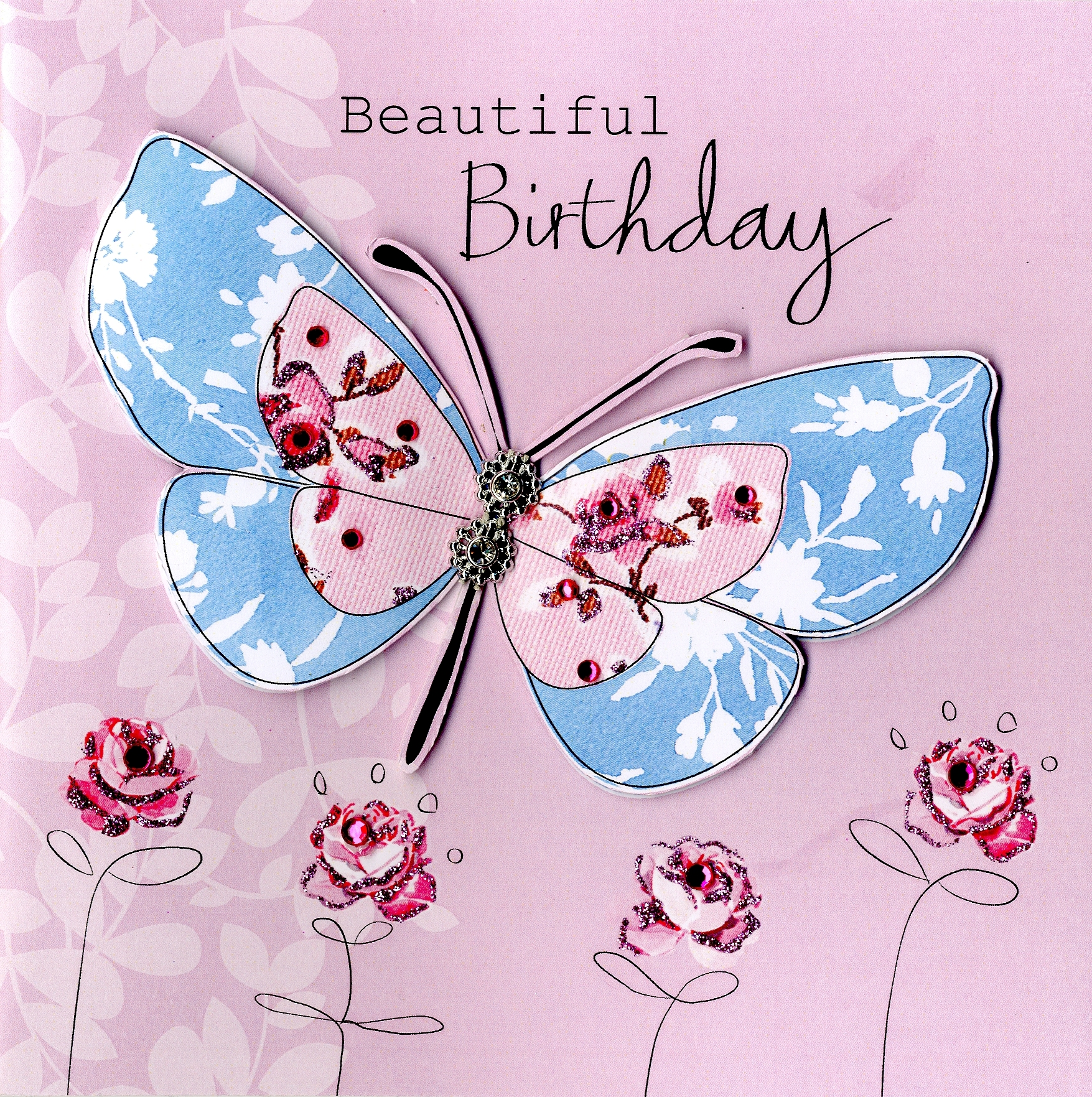 Embellished Beautiful Butterfly Birthday Card Cards – Butterfly Birthday Card