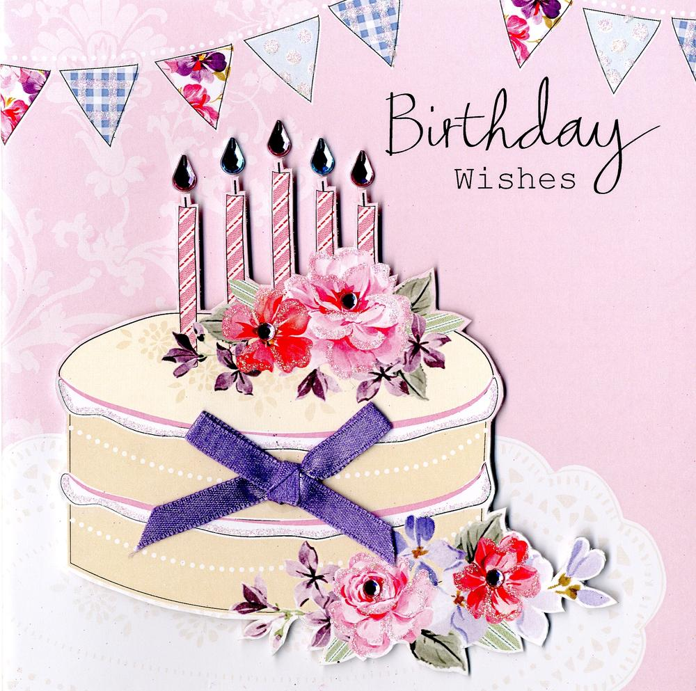 Embellished Cake Birthday Wishes Card