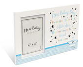 "New Baby Boy 6"" x 4"" Photo Frame Message Plaque Gift"
