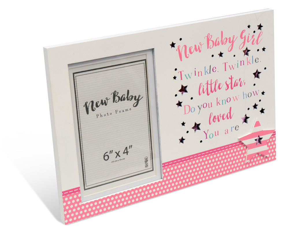 "New Baby Girl 6"" x 4"" Photo Frame Message Plaque Gift"