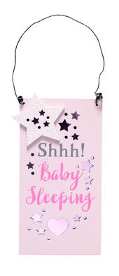 Shhh Baby Sleeping New Baby Girl Hanging Door Plaque
