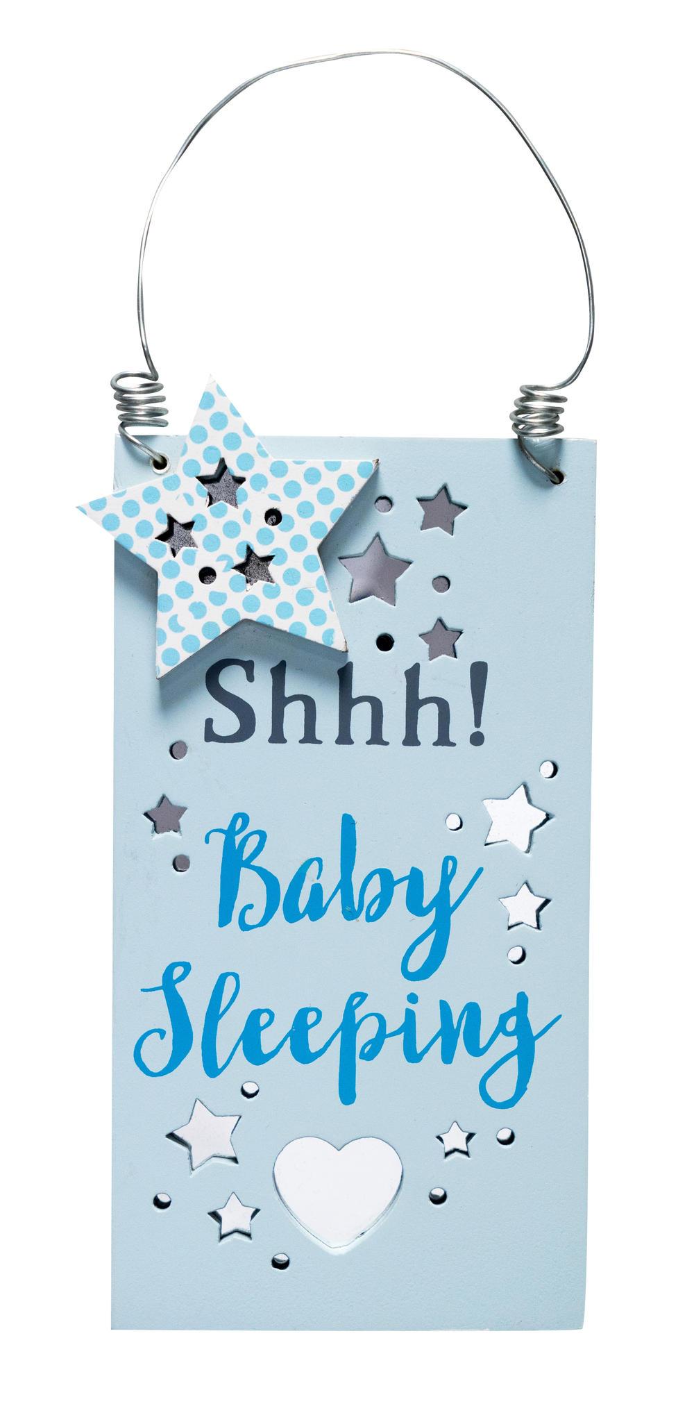 Shhh Baby Sleeping New Baby Boy Hanging Door Plaque