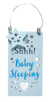 Shhh Baby Sleeping New Baby Boy Hanging Door Plaque