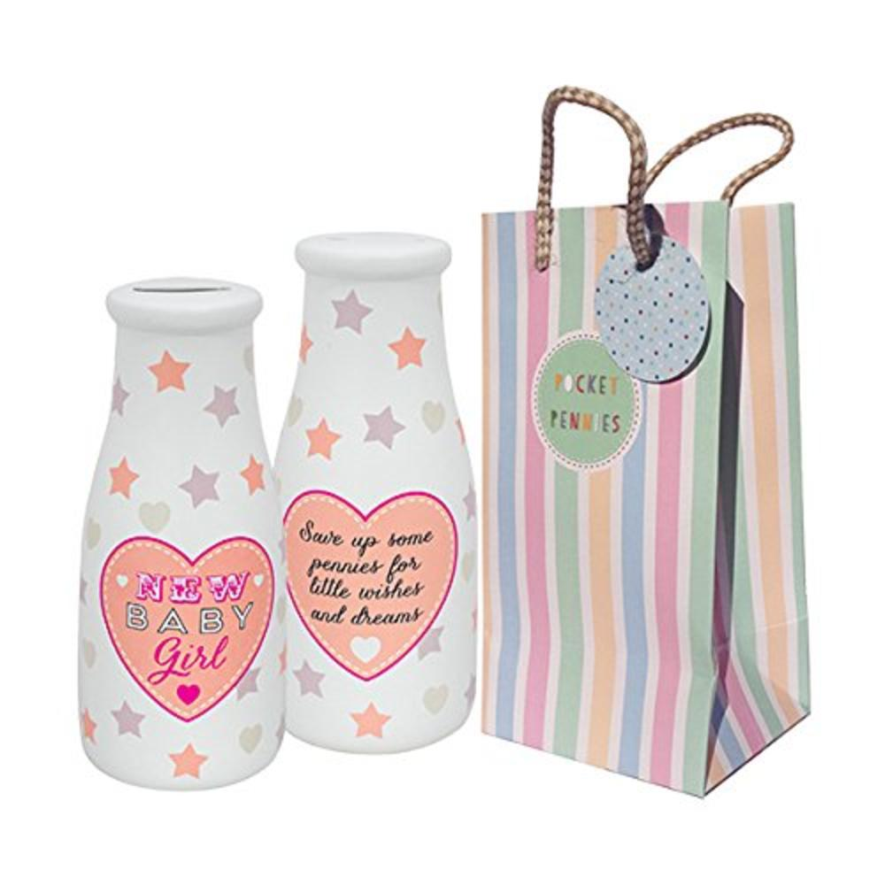 Pocket Pennies New Baby Girl Milk Bottle Shaped Money Pot
