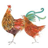 Chooks Animal Magic Square Art Greeting Card