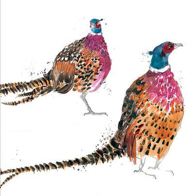 Pheasants Animal Magic Square Art Greeting Card