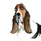Basset Hound Animal Magic Square Art Greeting Card
