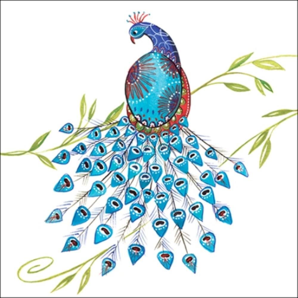 Peacock Wildlife Square Art Greeting Card