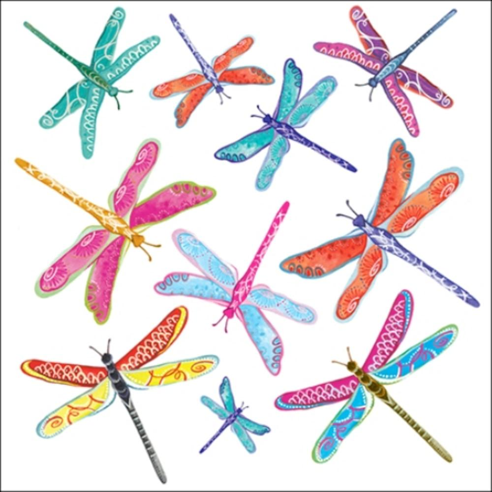 Dragonflies Wildlife Square Art Greeting Card Blank