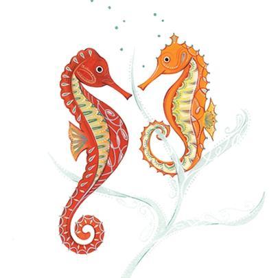 Seahorses Wildlife Square Art Greeting Card