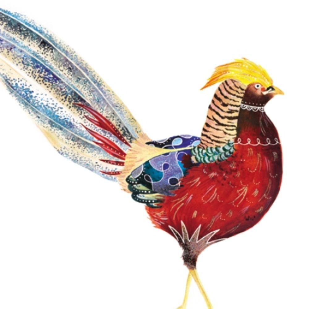 Golden Pheasant Square Art Greeting Card Blank Inside