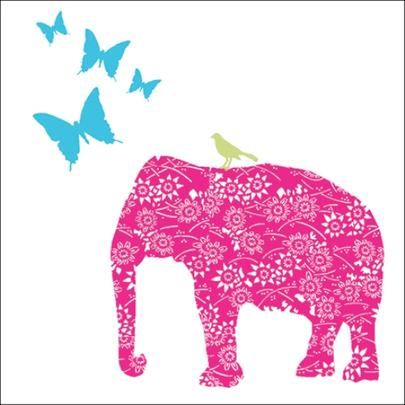 Pink Elephant Wildlife Square Art Greeting Card
