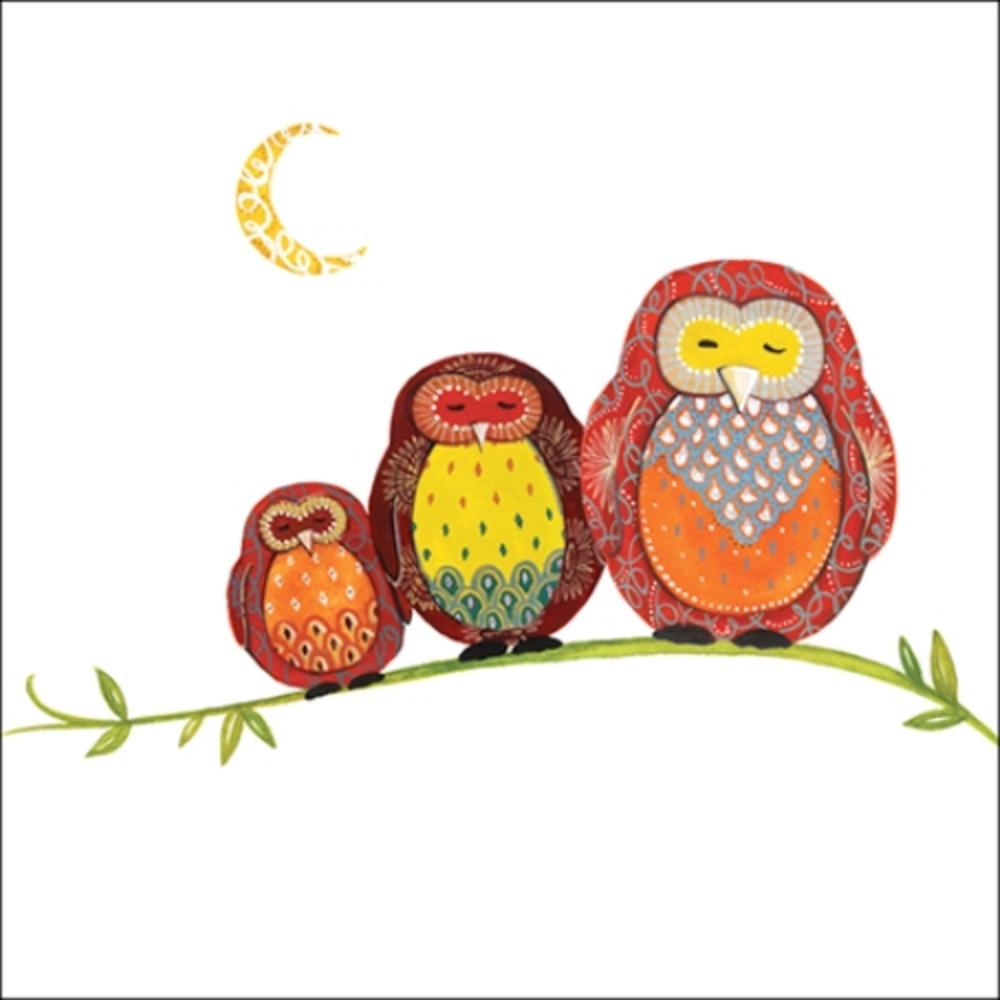 Owls Wildlife Square Art Greeting Card