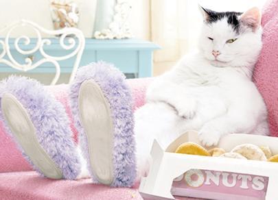 Avanti Cat Slippers Donuts Birthday Greeting Card
